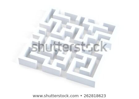 Stok fotoğraf: Labirent · soyut · 3d · illustration · bilmece · beyaz