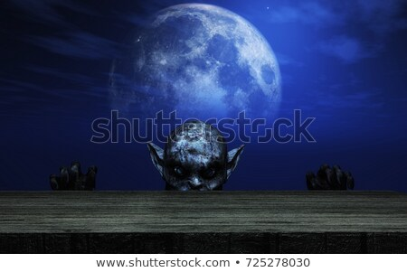 Wooden table looking out to a spooky zombie landscape Stock photo © kjpargeter