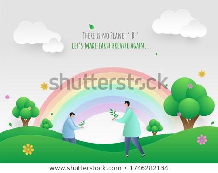 gyönyörű · öko · földgömb · vektor · tavasz · térkép - stock fotó © get4net