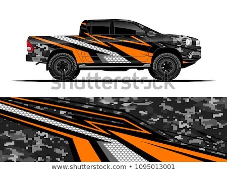 Pomarańczowy pojazd biały samochodu tle maszyny Zdjęcia stock © bluering
