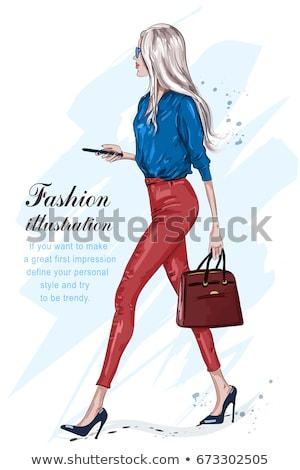 Stockfoto: Modieus · elegante · dame · poseren · jonge · mooie · vrouw