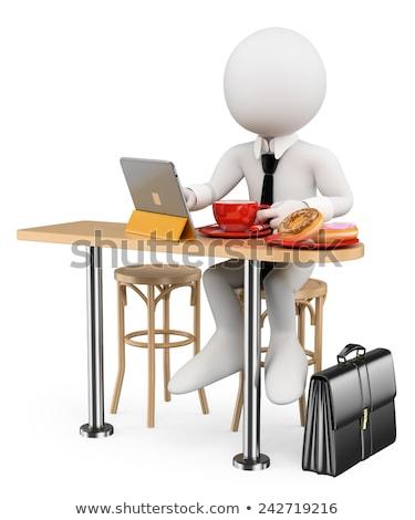 Ontbijt computer 3d illustration telefoon koffie business Stockfoto © Lupen