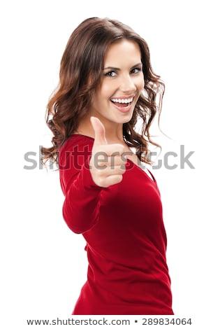 gülümseyen · kadın · bakıyor · mutlu · pozitif - stok fotoğraf © deandrobot