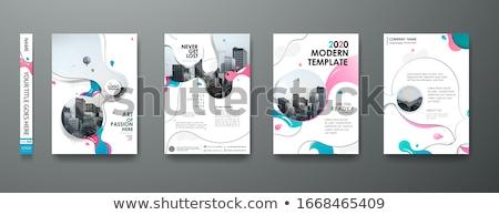 üzlet magazin borító sablon elrendezés kék Stock fotó © SArts