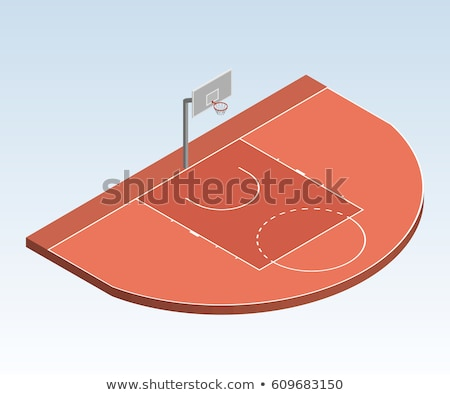 A Basketball at three point line on red and green court