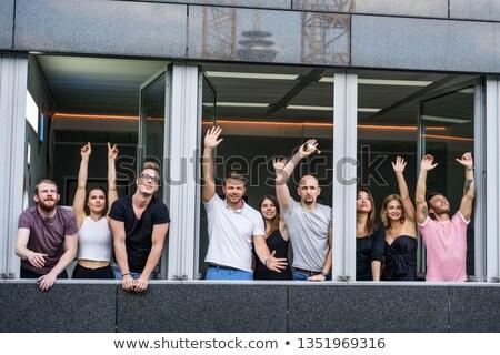 lezser · pár · ünnepel · siker · kezek · levegő - stock fotó © feedough