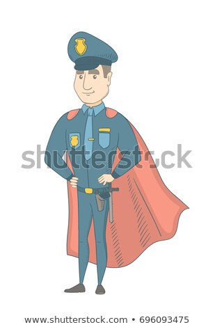 Caucasian policeman wearing a red superhero cloak. Stock photo © RAStudio