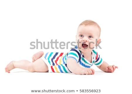 Aranyos vonzó baba fiú fehér póló Stock fotó © Traimak