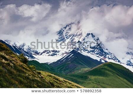 Fantastic range in mist at the foot Shkhara. Location Svaneti, M Stock photo © Leonidtit