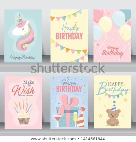 Buon compleanno carta baby vettore formato ragazza Foto d'archivio © balasoiu