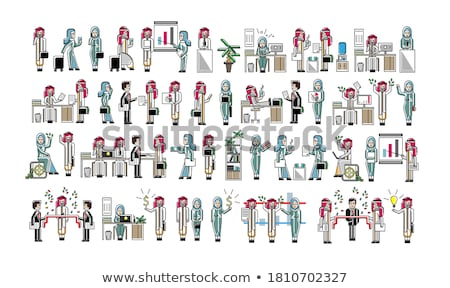 Arabic businessmen isolated big set Stock photo © studioworkstock