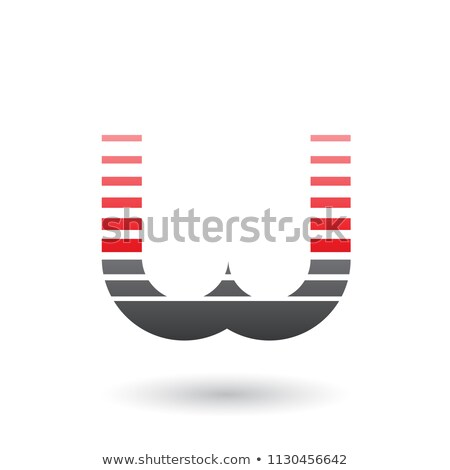 Red and Black Letter W Icon with Horizontal Stripes Vector Illus Stock photo © cidepix