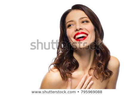 Foto stock: Belo · risonho · mulher · jovem · batom · vermelho · beleza · compensar