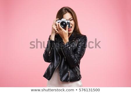 Joli brunette noir posant miroir Photo stock © acidgrey
