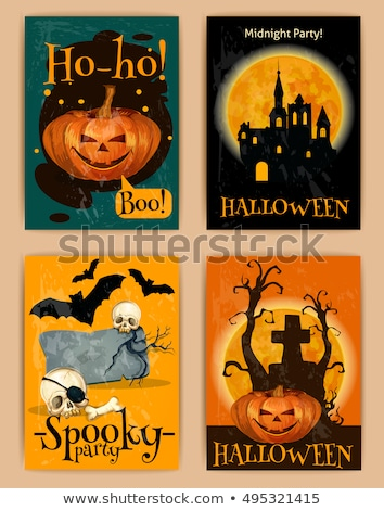Happy Halloween banner illustration with cemetery and crow on orange night sky background. Vector Ho Stock photo © articular