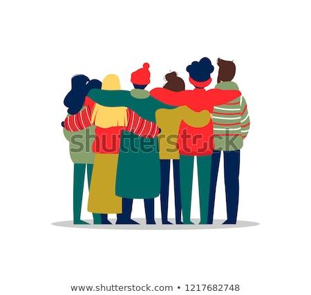 people friend group hug in christmas season stock photo © cienpies