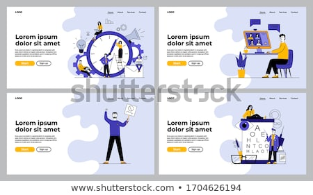 Stockfoto: Office Work Banners Set Vector Workers Pages Text
