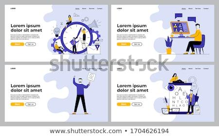 Stockfoto: Kantoorwerk · banners · ingesteld · vector · werknemers