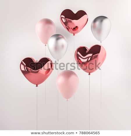 Stock photo: Realistic pink heart balloon isolated on white