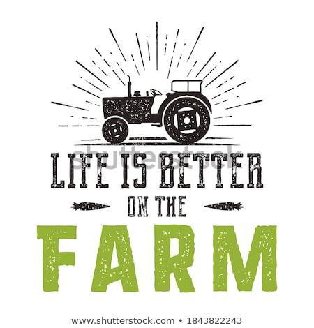 élet jobb farm embléma klasszikus kézzel rajzolt Stock fotó © JeksonGraphics