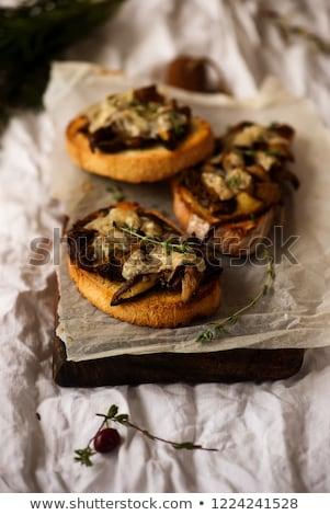 Bruschetta wild champignon stijl vintage selectieve aandacht Stockfoto © zoryanchik