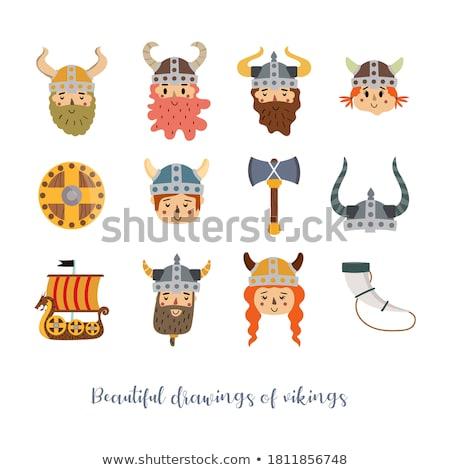 Cartoon Smiling Viking Girl Stock photo © cthoman