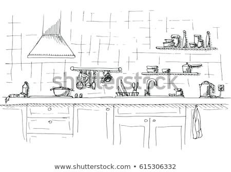 Kitchen sketch. Kitchen worktop. The sketch of the kitchen Stock photo © Arkadivna