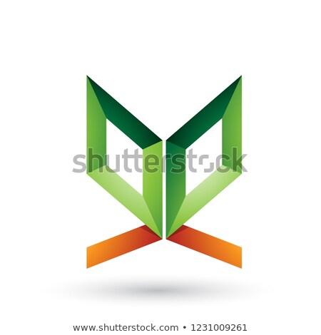 green and orange double sided butterfly like letter e vector ill stock photo © cidepix