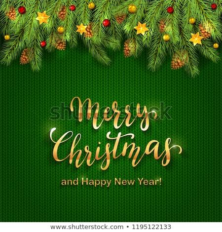 Сток-фото: Christmas Baubles Stars Golden Snowflakes Bauble Red Knittin Hea