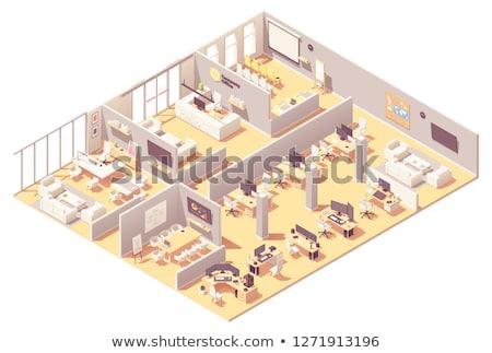ベクトル · アイソメトリック · 低い · オフィス · 会議室 · 表 - ストックフォト © tele52