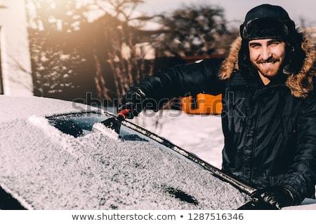 Férfi hó el szélvédő autó fák Stock fotó © Lopolo