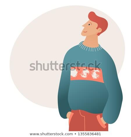 Portret ciekawy przypadkowy człowiek strona Zdjęcia stock © feedough