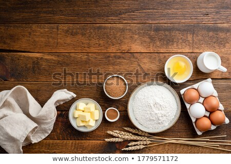 Fresh egg and other ingredients for Christmas baking Stock photo © madeleine_steinbach