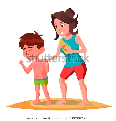 Mother Smears The Cream On The Back Of Sun-Burnt Kid In Swimming Trunks Vector. Isolated Illustratio Stock photo © pikepicture