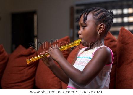 Meisje spelen fluit alleen illustratie kind Stockfoto © colematt