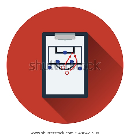 icon of football coach tablet with game plan stock photo © angelp