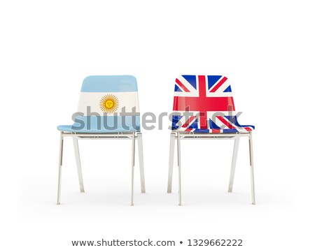 Two chairs with flags of Argentina and united kingdom Stock photo © MikhailMishchenko