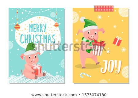 Joy Postcard, Piglet New Year Symbol with Gift Box Stock photo © robuart
