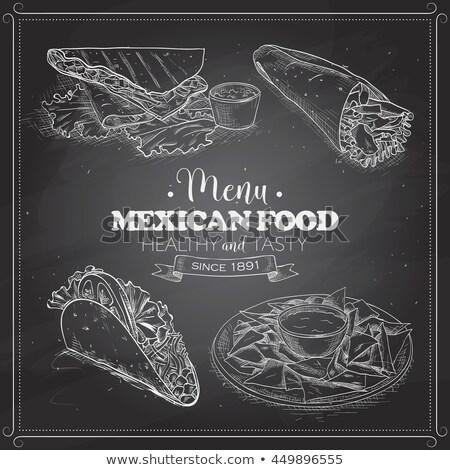 Taco scetch on a black board Stock photo © netkov1