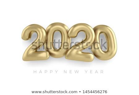 Stok fotoğraf: Creative 2020 Balloons And Confetti Banner Vector