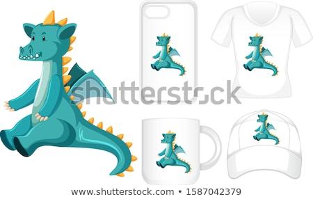 Grafik tasarım farklı ürünleri yeşil ejderha örnek Stok fotoğraf © bluering