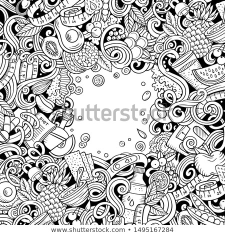 Cartoon doodles diet food frame. Line art dietary funny border Stock photo © balabolka