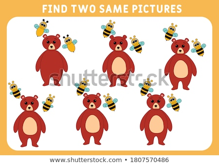find two same bear characters coloring book stock photo © izakowski