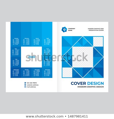 élégant bleu calendrier layout modèle de conception mur Photo stock © SArts