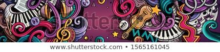 Music hand drawn doodle banner. Cartoon detailed illustrations. Stock photo © balabolka
