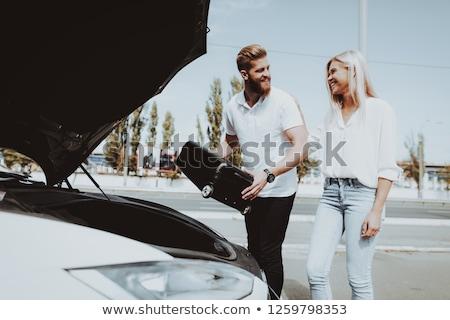 énergie hybride véhicule femme voiture femmes Photo stock © Lopolo