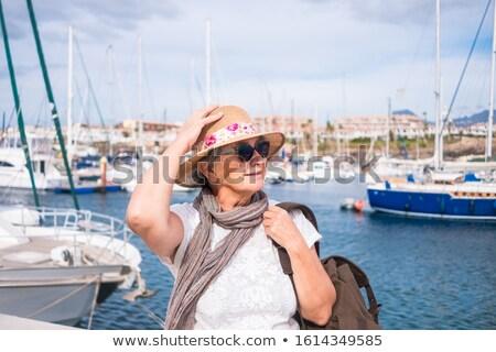 женщину небольшой лодка марина туристических пляж Сток-фото © ElenaBatkova