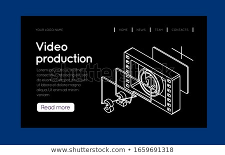 Filmstrip counter countdown isometrische dun lijn Stockfoto © m_pavlov