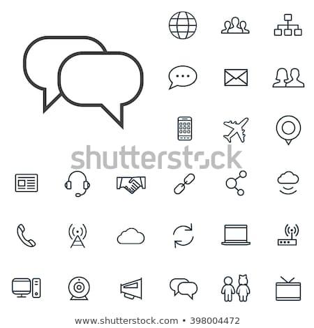 Chat, linear icon. Communication symbol. Vector illustration isolated on white background. Stock photo © kyryloff
