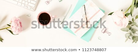 Banner of Woman or feminine workspace with laptop, notebook Stock photo © Illia